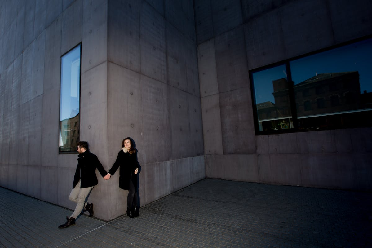 Ben & Laura's engagement photography by Sarah Bruce at the Hepworth Gallery Wakefield West Yorkshire