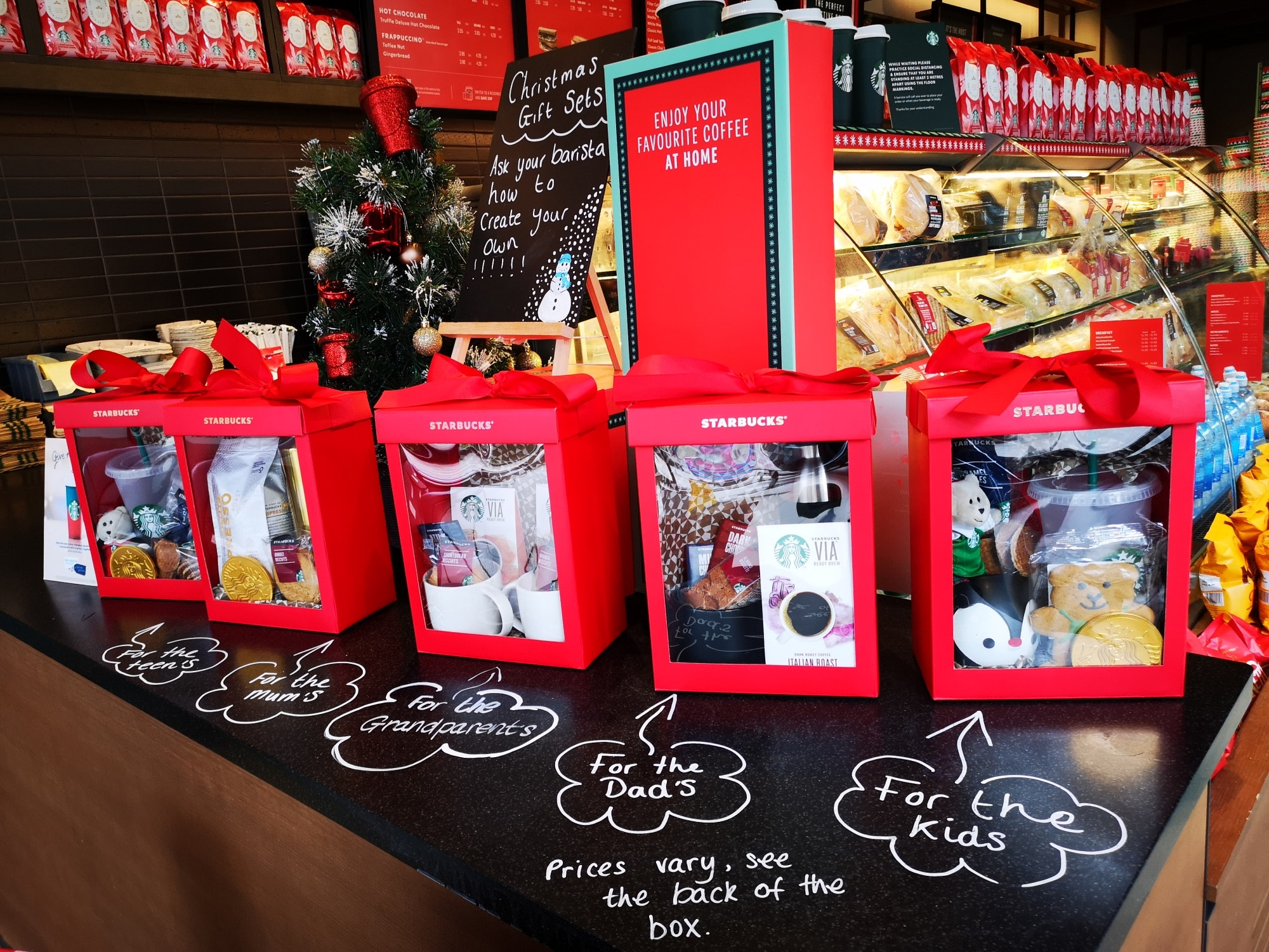 A gift from (coffee) heaven - Starbucks gift sets! Literally something for everyone. They've even suggested who for in this pic! From £28.
