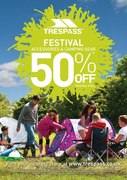 50% OFF* Festival Accessories and Camping Gear at Trespass