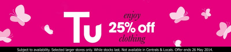 Enjoy 25% off TU clothing at Sainsbury's