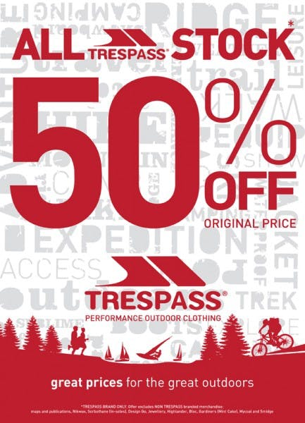 50% off all stock at Trespass