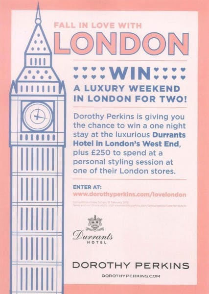 Win a weekend in London thanks to Dorothy Perkins