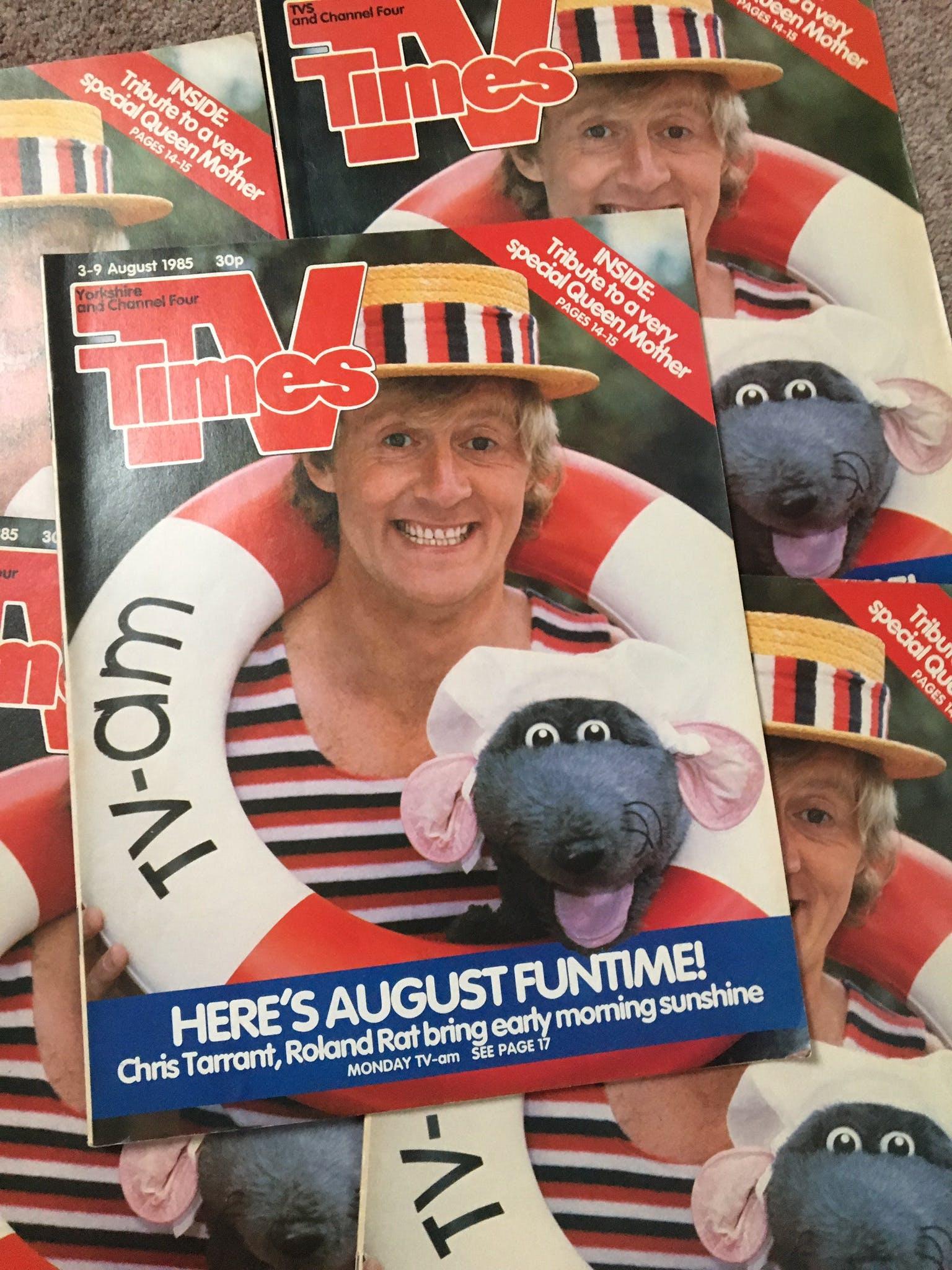 TV Times 1985. Roland Rat & Chris Tarrant, TV-am