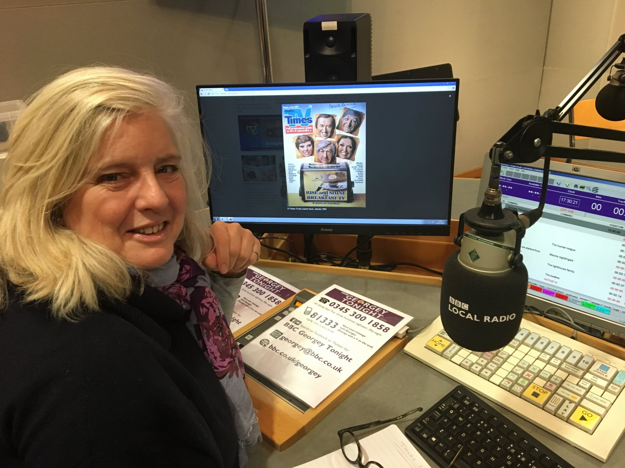 Georgey Spanswick with TV-am website