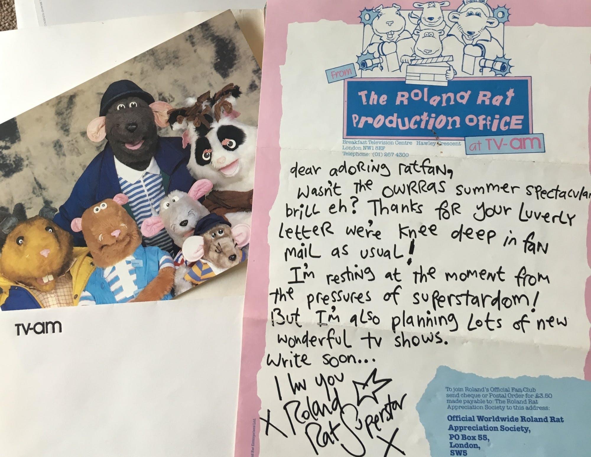 Roland Rat letter TV-am