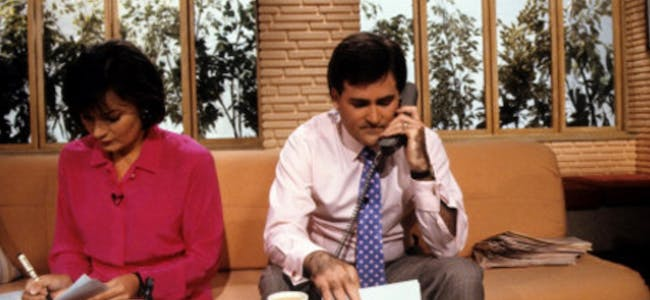 Lorraine Kelly and Richard Keys on the TV-am sofa.