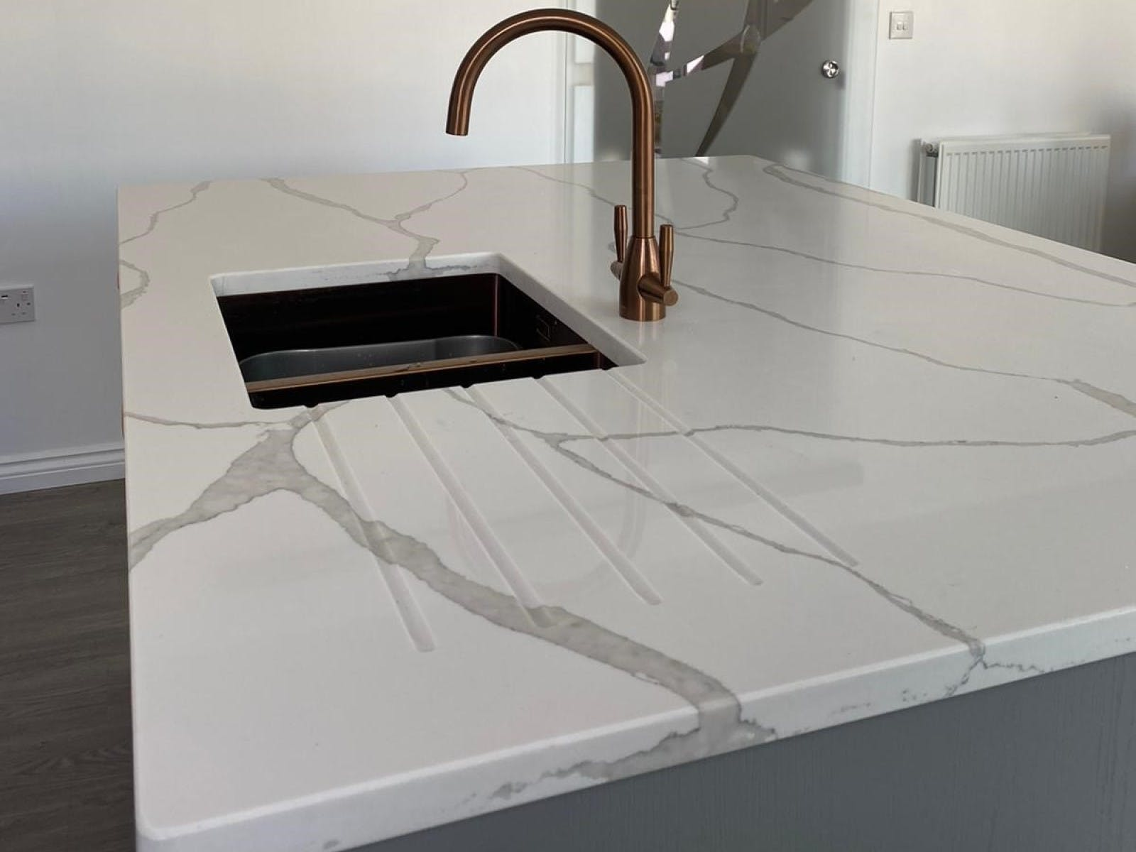 Calacatta Quartz Worktop WIth Copper Tap and Sink, Sheffield