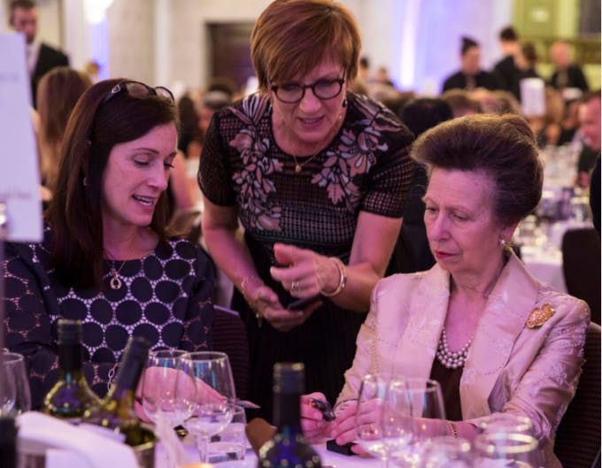 The Princess Royal taking part in the Microsoft dinner challenge at the WISE Awards 2016