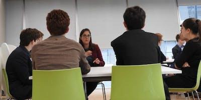 Emma Thomas speaking to students