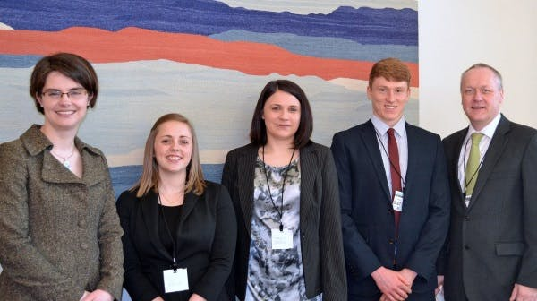 Alicia (centre) and other British Sugar representatives meet with Chloe Smith MP (far left) to share their thoughts on apprenticeships.