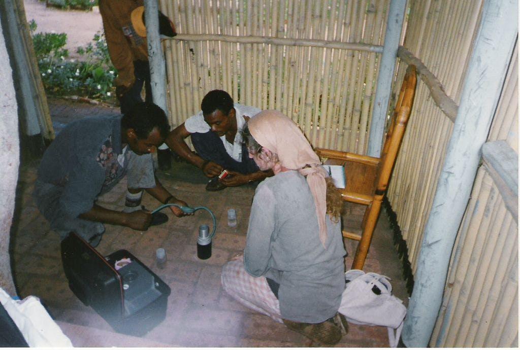 Sarah Undertaking water quality testing in Ethiopia 1997