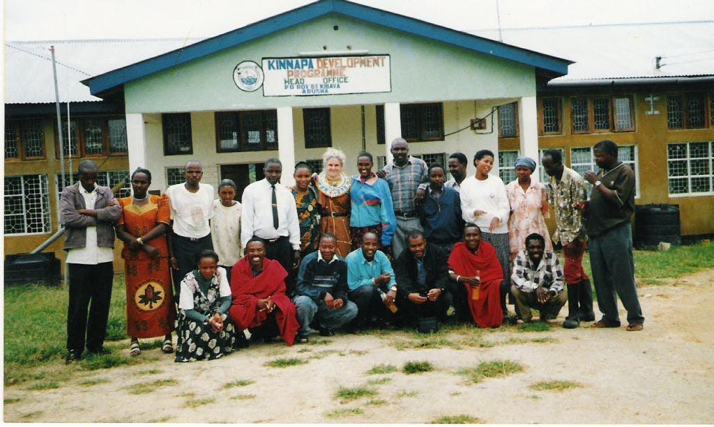 Sarah with a partner organisation, KINNAPA Development Programme, Tanzania 2002