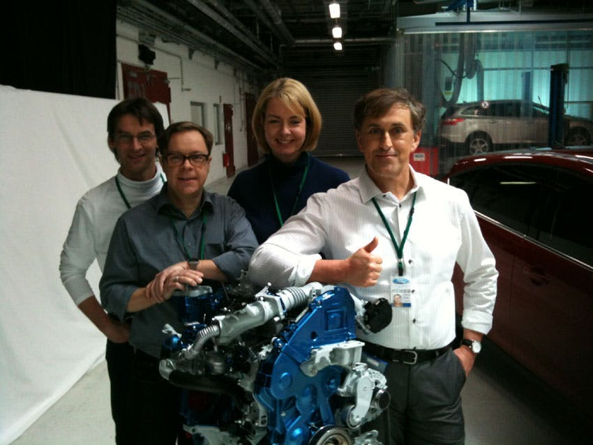Focus TV Advert –  me and other actors around a production engine during a break! 2012