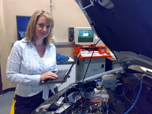 Sarah Haslam working on engine development