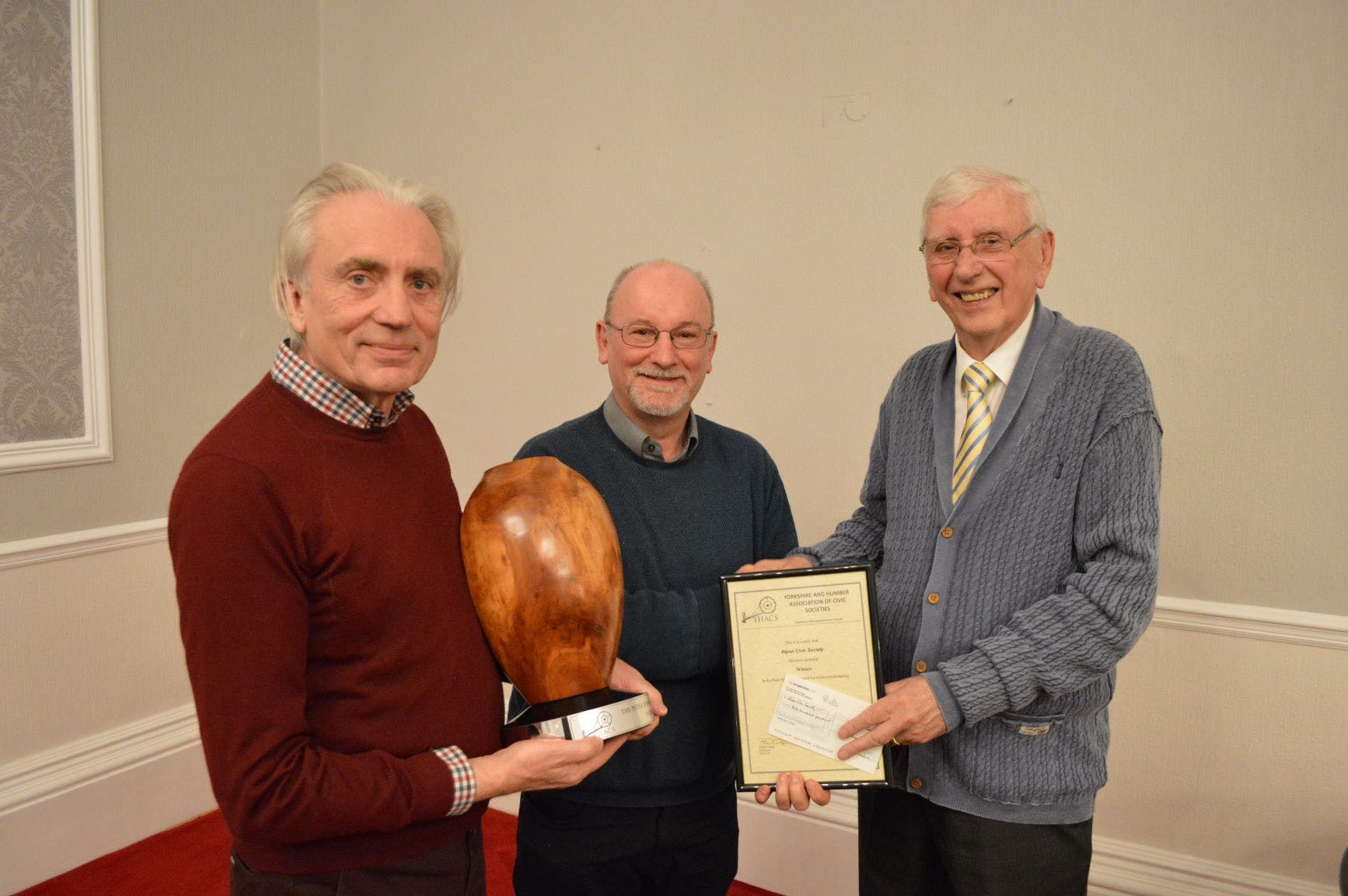 Members of Ripon Civic Society receiving the Peter Spawforth Trophy